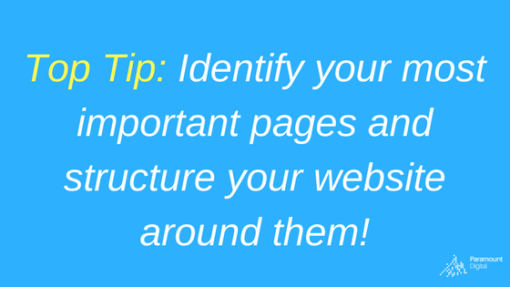 Top Tip Identify your most important pages and structure your website around them!
