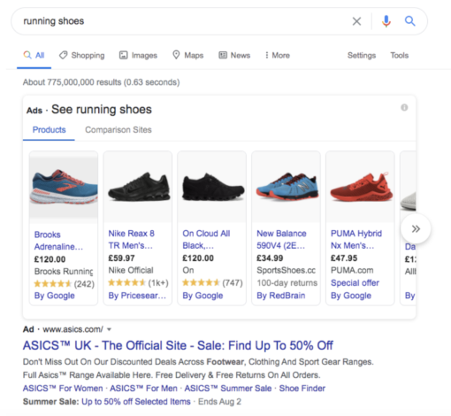 An example of why brands should use Google Shopping to get their products to the top of search for Ecommerce
